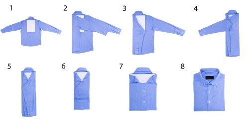 Схема складывания рубашки с длинными рукавами