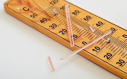 Старый разбитый термометр
