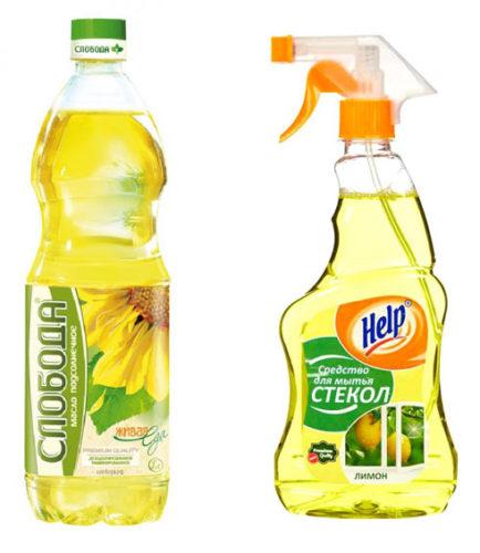 Подсолнечное масло и средство для стекол