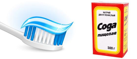 Сода и зубная паста