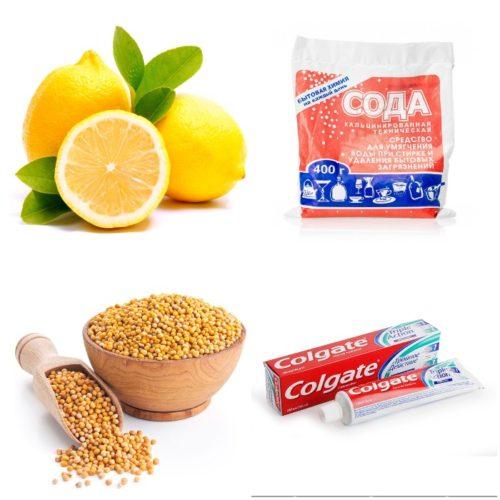 Лимон, сода и другие компоненты