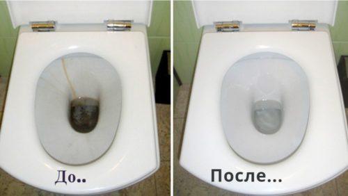 Унитаз до и после чистки